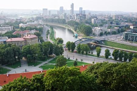 View of Mindaugas Bridge across Neris River in Vilnius, Lithuania