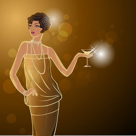 Illustration for Retro party girl - Royalty Free Image