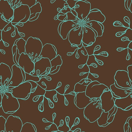 Illustration pour Vector background with hand drawn flowers   Seamless Pattern  - image libre de droit