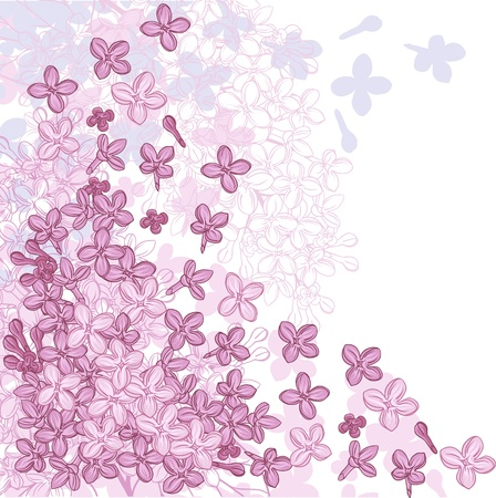 background for design with flowers of lilac