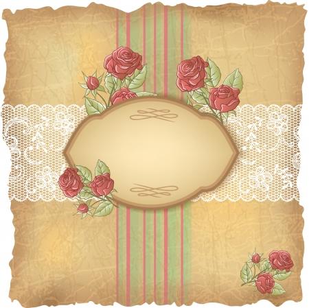 Foto de Vintage background with roses and lace  Old paper  - Imagen libre de derechos