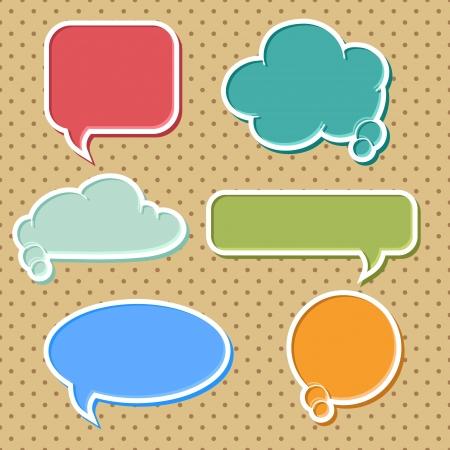 Illustration pour Collection of colorful speech bubbles and dialog balloons - image libre de droit