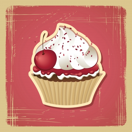 Vector illustration of cupcake with cherry  Vintage card