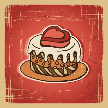 Vector illustration of cake in retro style  Vintage card