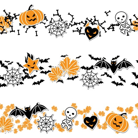 Vector border of Halloween-related objects and creatures のイラスト素材