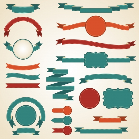 Photo for Set of retro ribbons and labels  Vector illustration  - Royalty Free Image