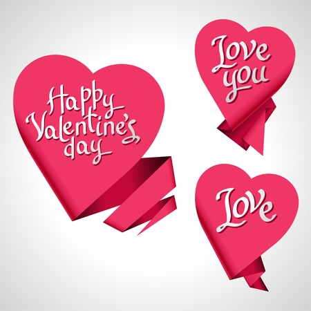 Valentine s Day background  Origami speech bubble