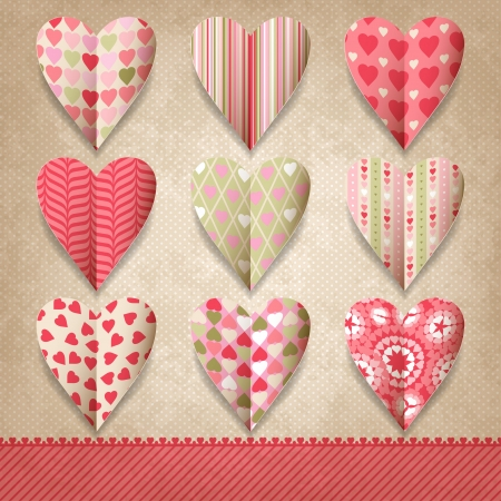 Scrap template of vintage design with hearts
