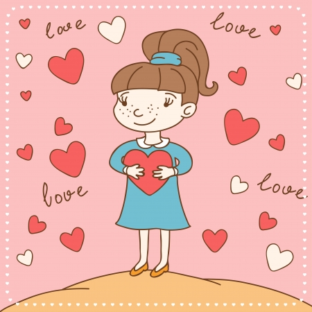 Vintage Valentine s day card of girl with heart