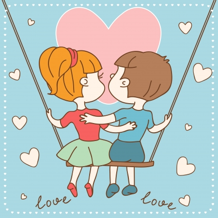 Vintage Valentine s day card of boy and girl in love