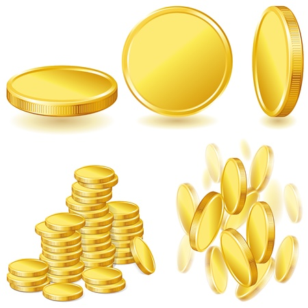 Collection illustrations, icons of gold coins