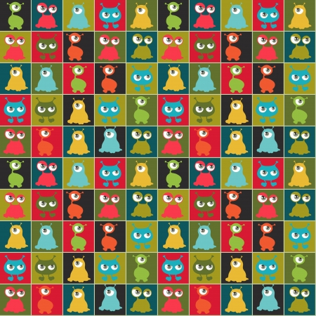 Abstract seamless pattern with cute monsters のイラスト素材