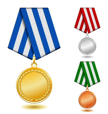 Gold, silver and bronze medals on patterned color ribbon