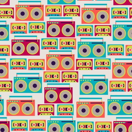 Seamless pattern with tape recorders and audio cassette
