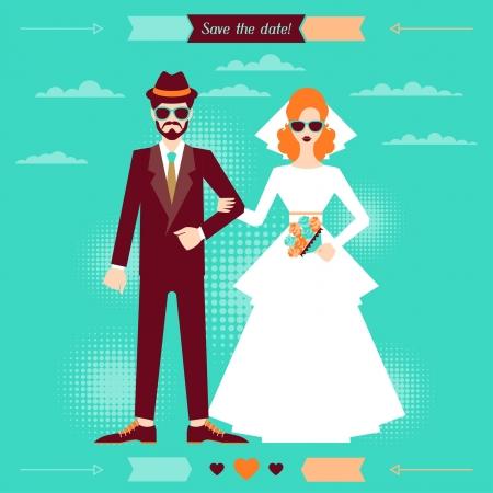 Foto de Wedding invitation card template in retro style. - Imagen libre de derechos
