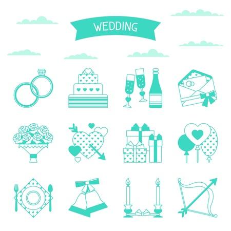 Foto de Set of retro wedding icons and design elements. - Imagen libre de derechos