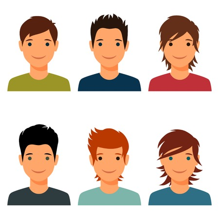 Ilustración de Set of cute young boys with various hair style. - Imagen libre de derechos