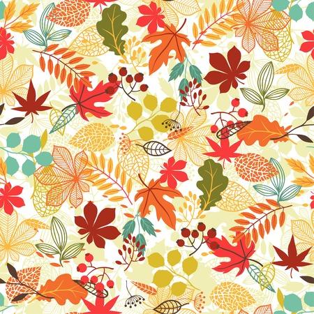 Illustration pour Seamless pattern with stylized autumn leaves  - image libre de droit