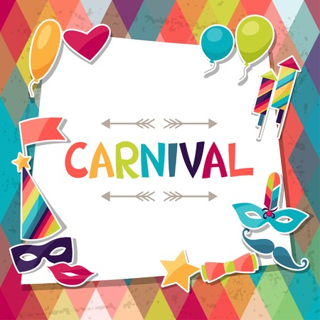 Illustration pour Celebration background with carnival stickers and objects. - image libre de droit