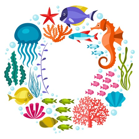 Illustration pour Marine life background design with sea animals. - image libre de droit