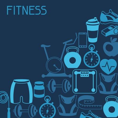 Ilustración de Sports background with fitness icons in flat style. - Imagen libre de derechos