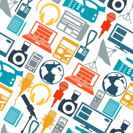 Seamless pattern with journalism icons.