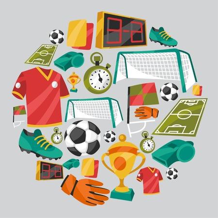 Ilustración de Sports background with soccer football symbols. - Imagen libre de derechos