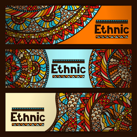 Ethnic banners design with hand drawn ornament.