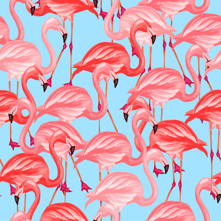 Tropical birds seamless pattern with pink flamingos.