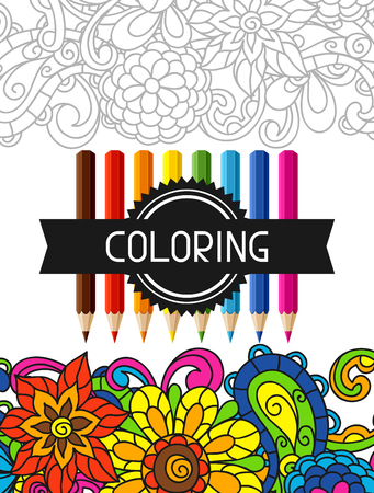Illustration pour Adult coloring book design for cover. Illustration of trend item to relieve stress and creativity. - image libre de droit