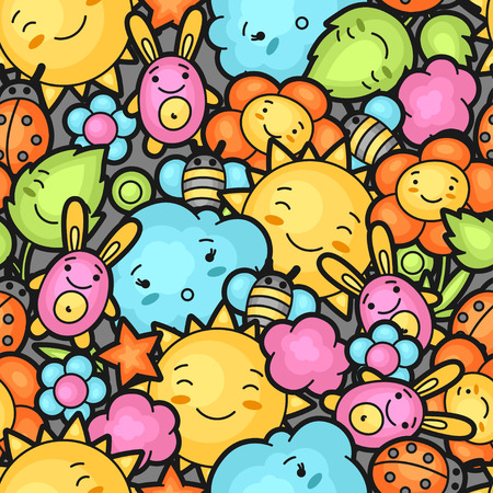 Illustration pour Seamless kawaii child pattern with cute doodles. Spring collection of cheerful cartoon characters sun, cloud, flower, leaf, beetles and decorative objects. - image libre de droit