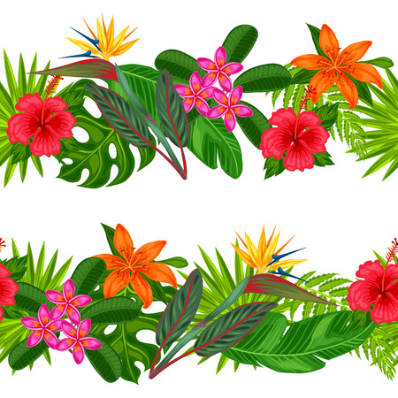 Illustration for Seamless horizontal borders with tropical plants, leaves and flowers. Background made without clipping mask. Easy to use for backdrop, textile, wrapping paper. - Royalty Free Image