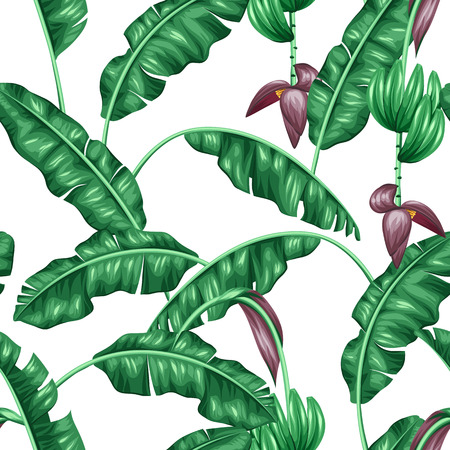 Illustration for Seamless pattern with banana leaves. Decorative image of tropical foliage, flowers and fruits. Background made without clipping mask. Easy to use for backdrop, textile, wrapping paper. - Royalty Free Image