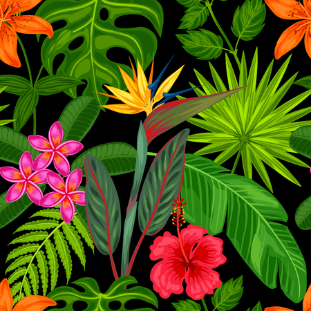 Illustration pour Seamless pattern with tropical plants, leaves and flowers. Background made without clipping mask. Easy to use for backdrop, textile, wrapping paper. - image libre de droit