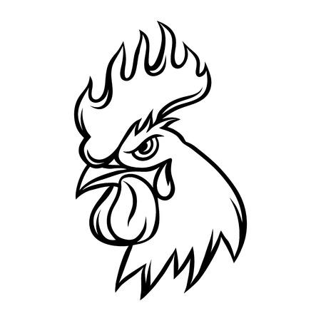 Illustration pour Hand drawn illustration of black rooster on white background. - image libre de droit