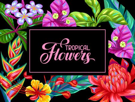 Illustration pour Invitation card with Thailand flowers. Tropical multicolor plants, leaves and buds. - image libre de droit