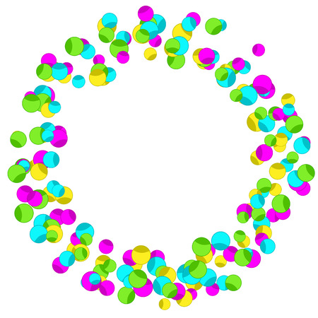 Illustration for Frame with colourful sparlking confetti. Bright abstract decorative ring. - Royalty Free Image