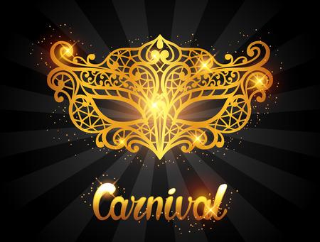 Illustration pour Carnival invitation card with golden lace mask. Celebration party background. - image libre de droit