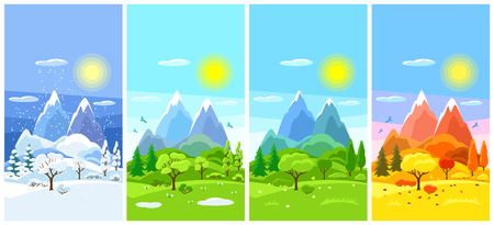 Ilustración de Four seasons landscape. Banners with trees, mountains and hills in winter, spring, summer, autumn. - Imagen libre de derechos