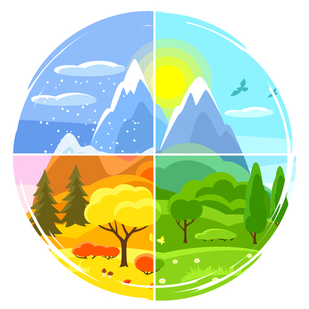 Ilustración de Four seasons landscape. Illustrations with trees, mountains and hills in winter, spring, summer, autumn. - Imagen libre de derechos