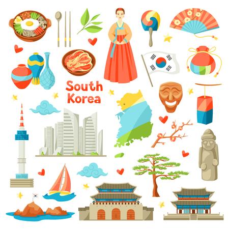 Ilustración de South Korea icons set. Korean traditional symbols and objects. - Imagen libre de derechos
