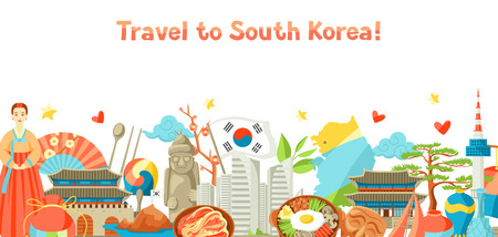Ilustración de South Korea banner design. Korean traditional symbols and objects. - Imagen libre de derechos