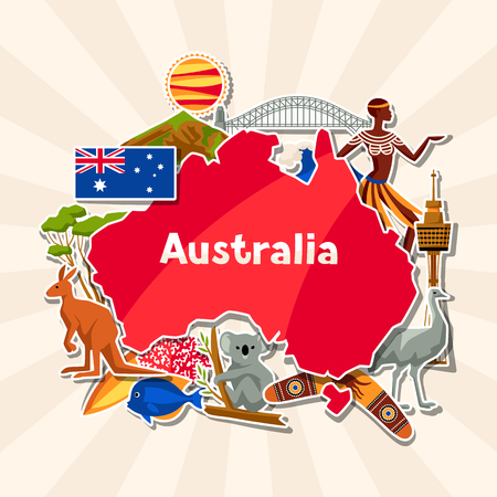 Ilustración de Australia background design. Australian traditional sticker symbols and objects. - Imagen libre de derechos