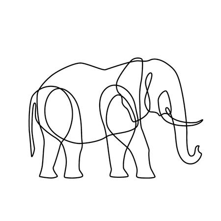 Illustration for Endless line art illustration of elephant - Royalty Free Image