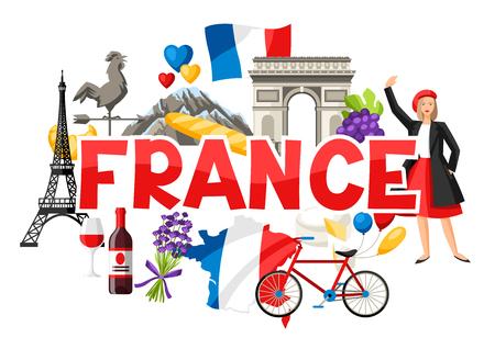 Ilustración de France background design. French traditional symbols and objects. - Imagen libre de derechos