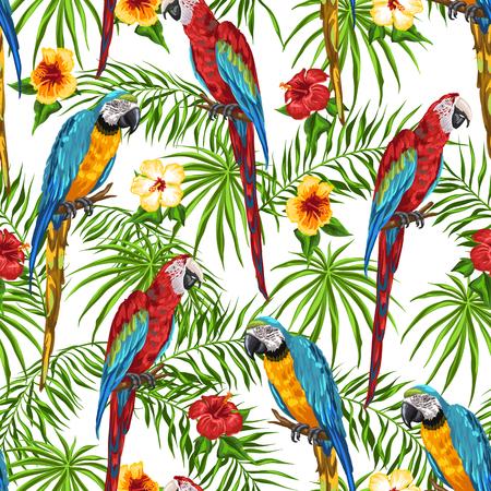 Illustration pour Tropical seamless pattern with parrots. Palm leaves, hibiscus flowers and exotic birds. - image libre de droit