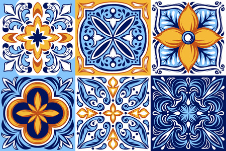 Illustration for Italian ceramic tile pattern. Ethnic folk ornament. Mexican talavera, portuguese azulejo or spanish majolica. - Royalty Free Image