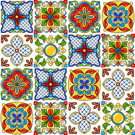 Illustration for Mexican talavera ceramic tile pattern. Ethnic folk ornament. Italian pottery, portuguese azulejo or spanish majolica. - Royalty Free Image