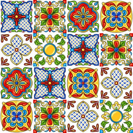 Illustration pour Mexican talavera ceramic tile pattern. Ethnic folk ornament. Italian pottery, portuguese azulejo or spanish majolica. - image libre de droit