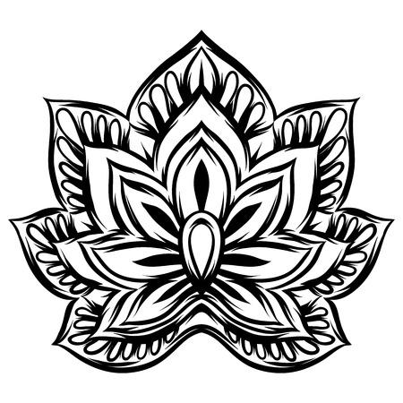 Illustration pour Indian ethnic decorative element. Ethnic folk ornament. Hand drawn lotus flower. - image libre de droit
